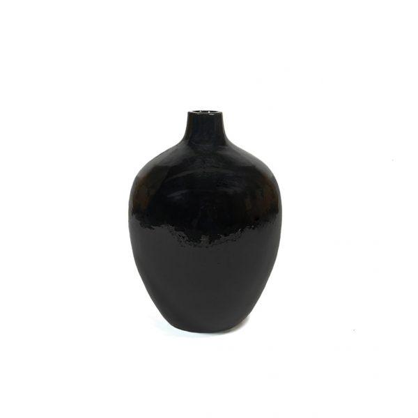 Stenen Vaas hoogglans zwart